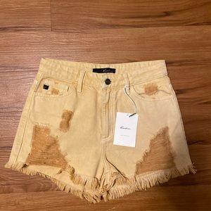 KanCan Distressed Mustard Yellow Denim Shorts I Sm